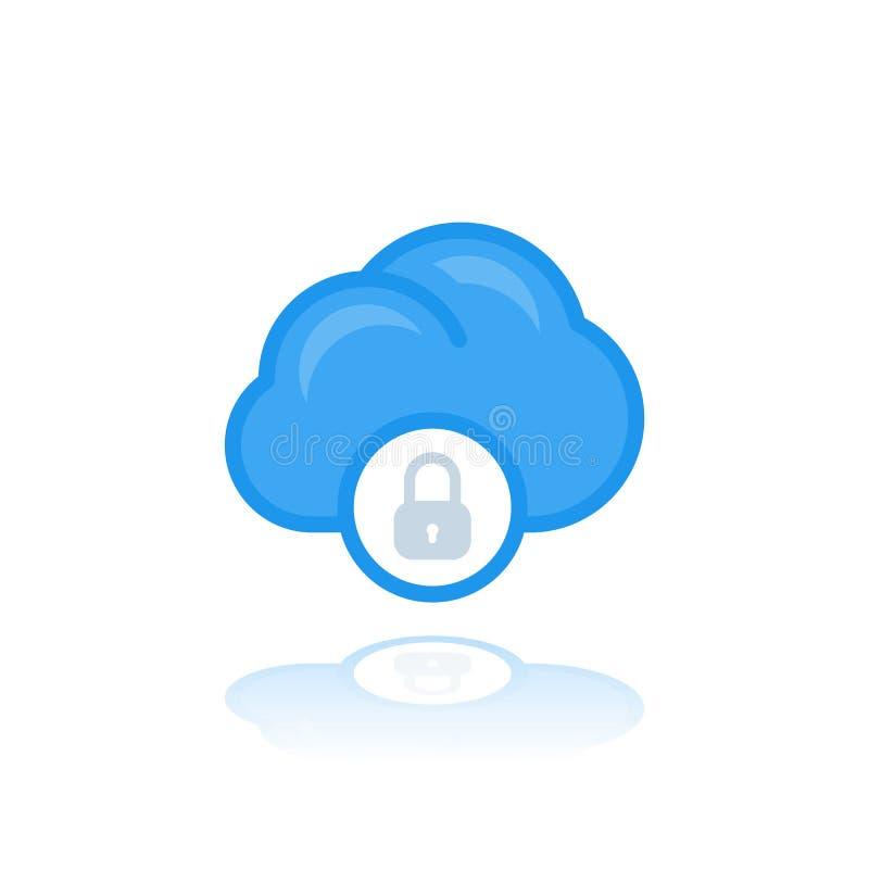 Fixe o acesso da nuvem, ícone do vetor da proteção de dados ilustração do vetor