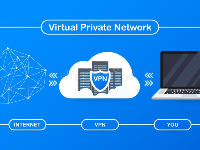 Fixe o conceito da conexão de VPN Vista geral da conectividade da rede virtual privada Ilustração do vetor ilustração stock