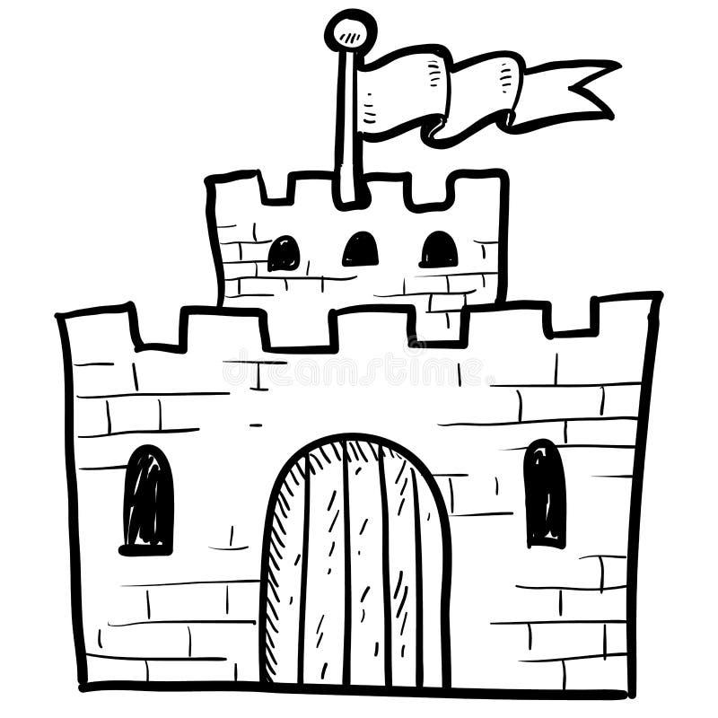 Fixe o esboço do castelo ilustração royalty free