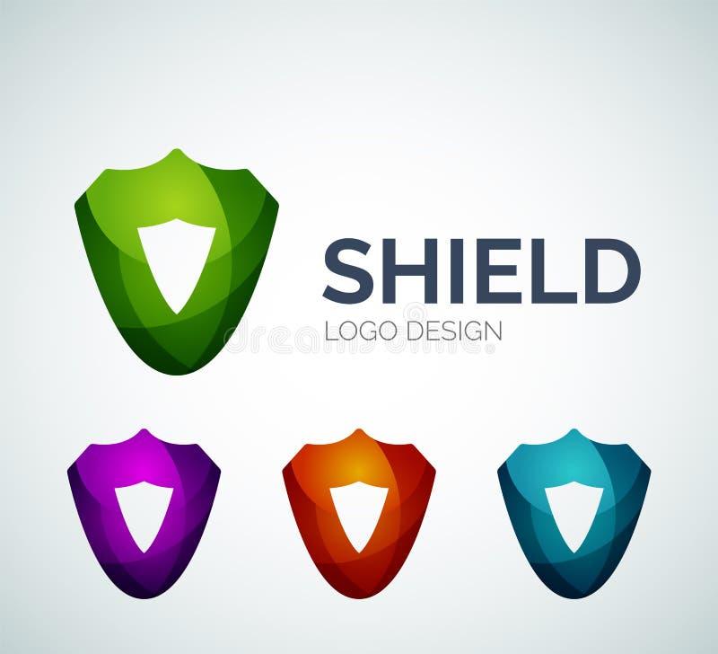 Fixe o projeto do logotipo do protetor feito de partes da cor ilustração royalty free