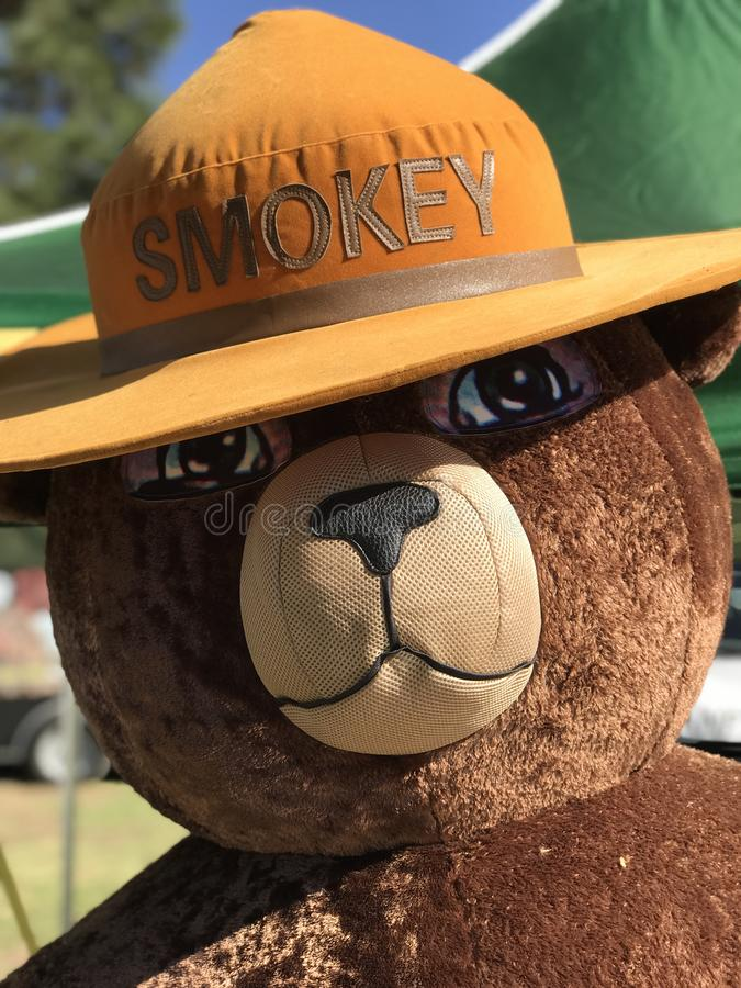 Fixe o tamanho do urso Espelhamento Figura em um evento comunitário fotografia de stock