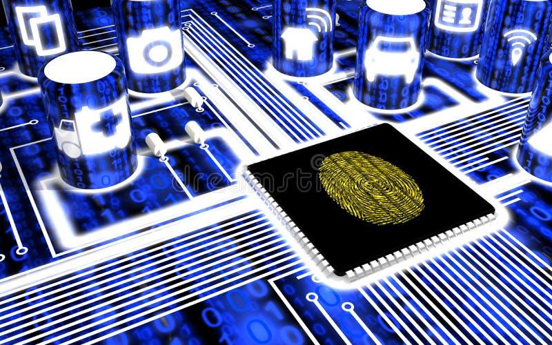 Fixe a placa de circuito de IOT com impressão digital ilustração stock