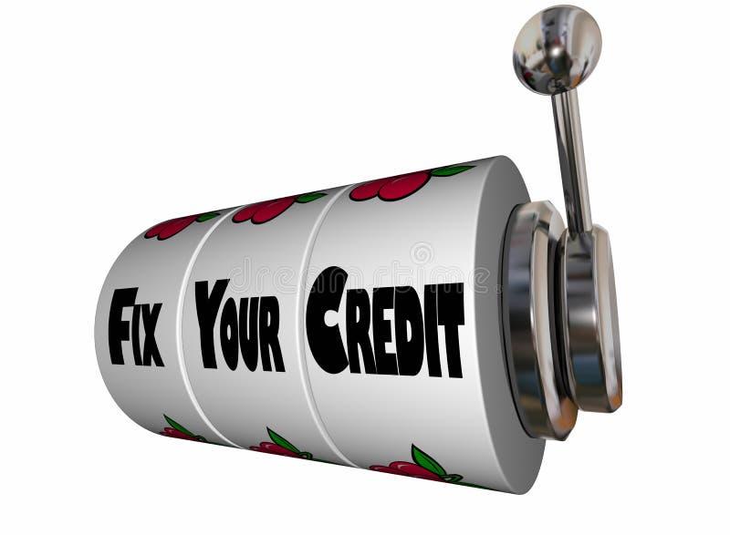 Fixe seu slot machine da contagem do rating de crédito ilustração stock