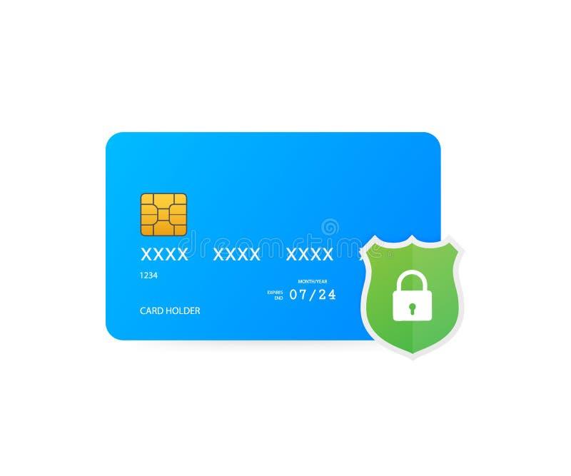 Fixe a transação do cartão de crédito Conceitos da proteção do pagamento, pagamento seguro Ilustração do vetor ilustração do vetor