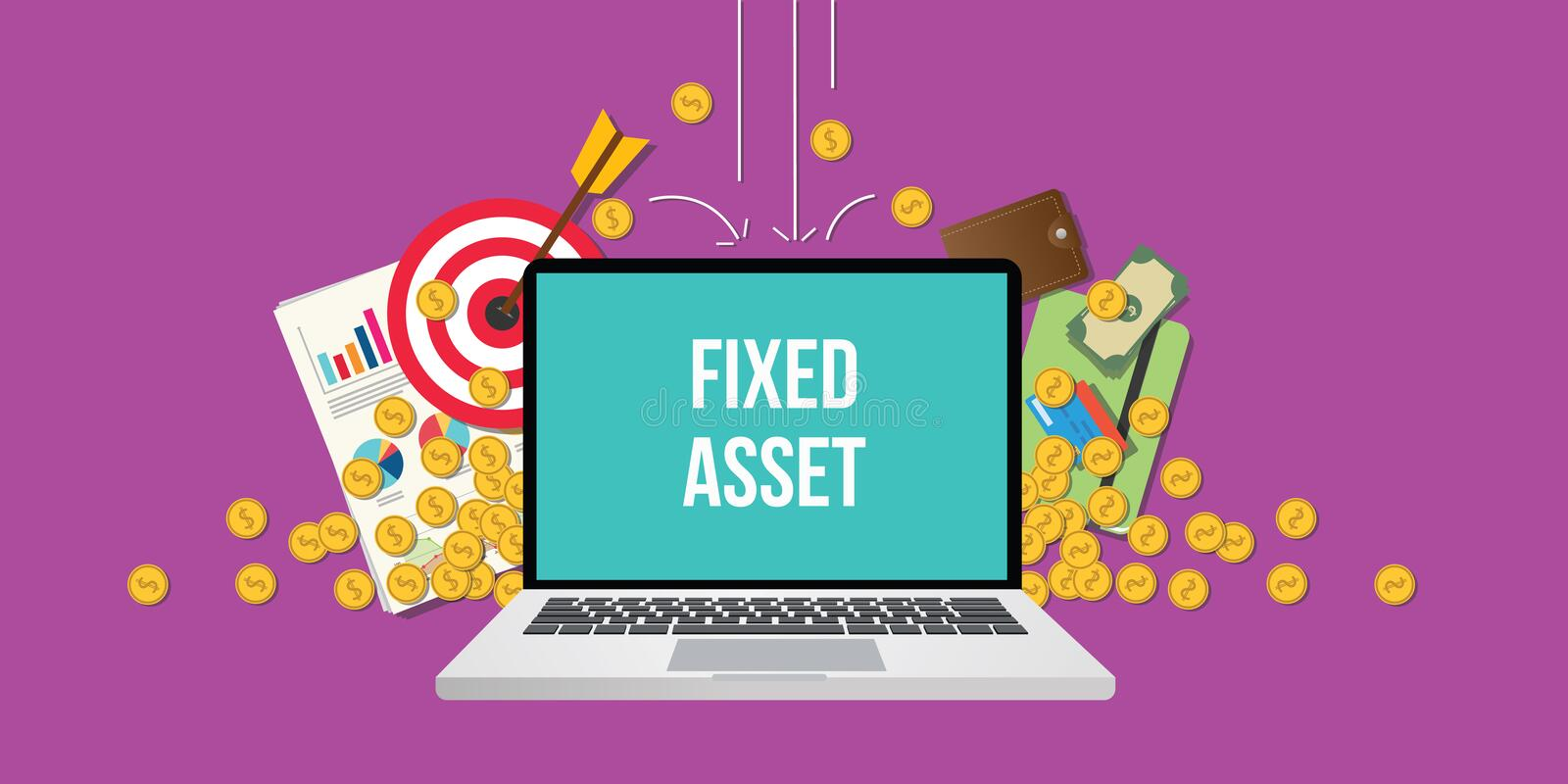 Fixed asset concept illustration with laptop text on screen gold coin money. Falling down with goals graph chart paperwork as background vector royalty free illustration