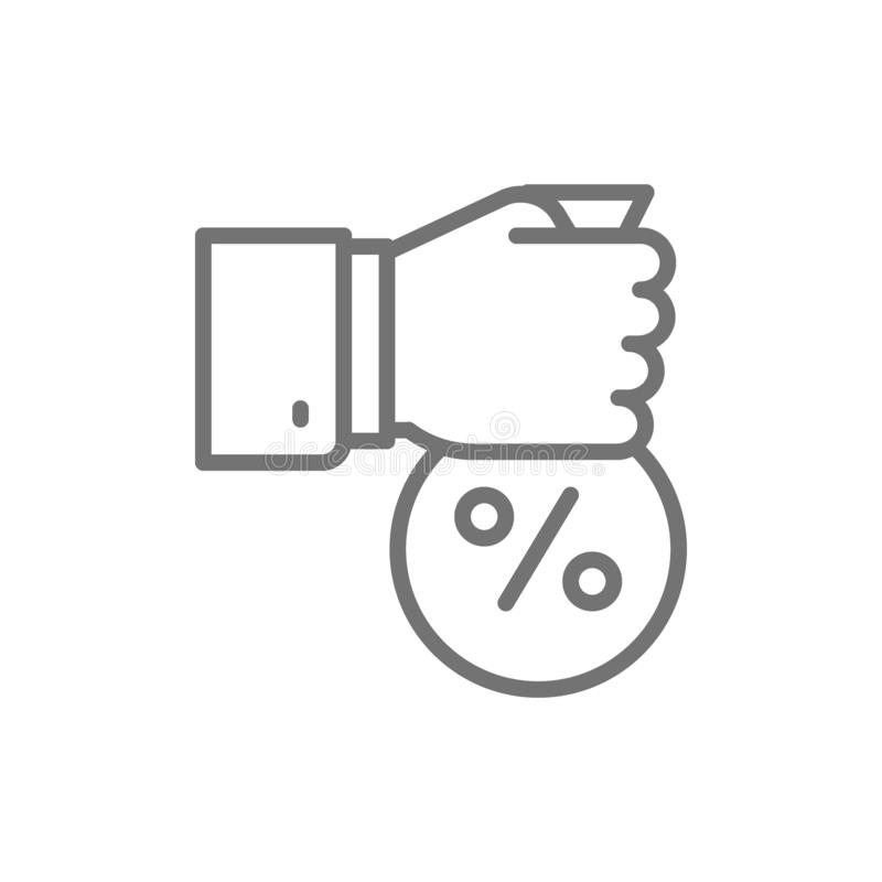 Fixed interest rate, hand with money bag line icon. royalty free illustration