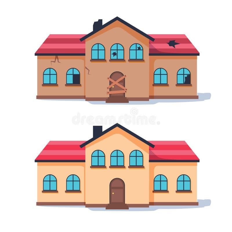 Fixeerstof - hogere huisvernieuwing vóór en na Oud verlagingshuis dat in leuk traditioneel plattelandshuisje wordt geremodelleerd royalty-vrije illustratie