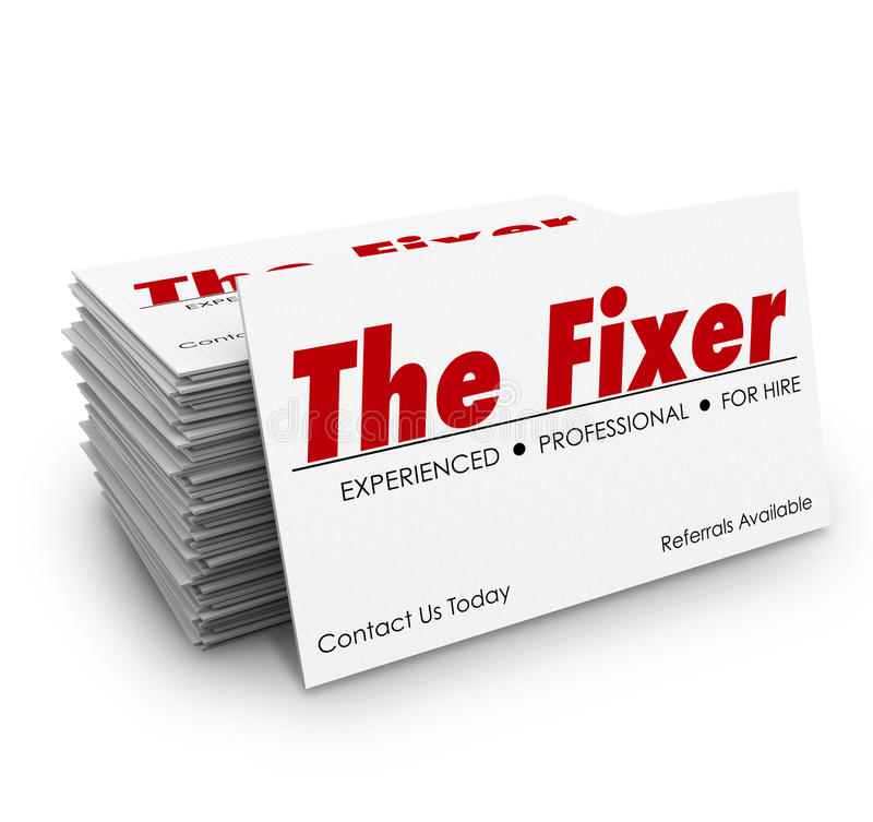 The Fixer Business Card Stack Problem Solver Solution. The Fixer words on a business card in stack or pile for a professional who can solve a problem or make vector illustration