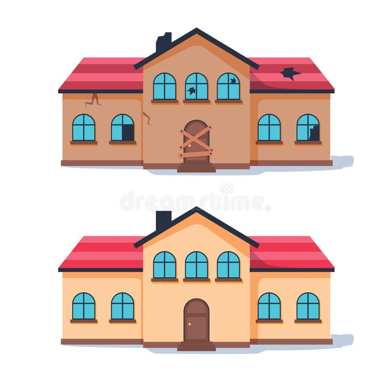 Fixer upper home renovation before and after. Old run-down house remodeled into cute traditional suburban cottage. royalty free illustration
