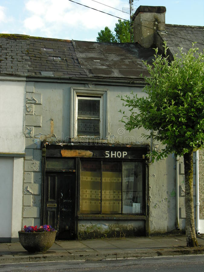 Fixer-Upper Shop. Dilapidated village shop in Ireland royalty free stock photo