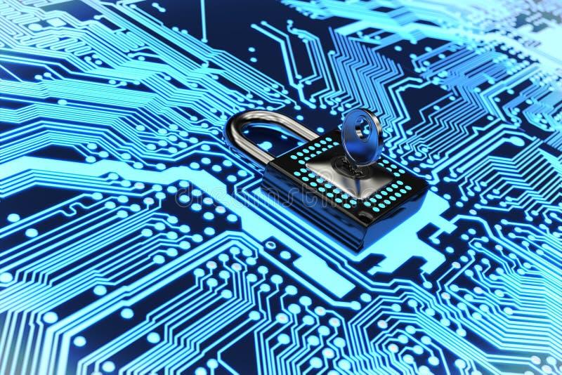 Fixez le rendu du circuit électronique 3D photo libre de droits