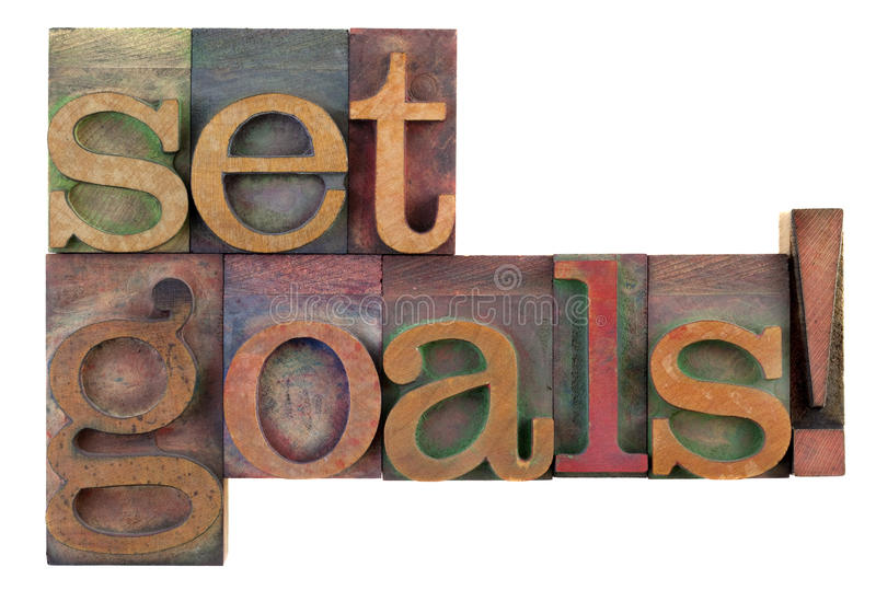 Fixez les buts - rappel de motivation photo stock