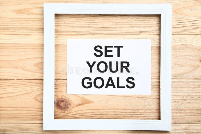 Fixez vos buts sur la feuille de papier photo libre de droits