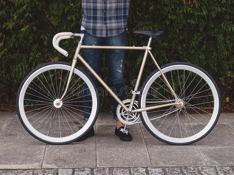 Fixie bike. Detail in autumn outdoors in a boardwalk stock photography