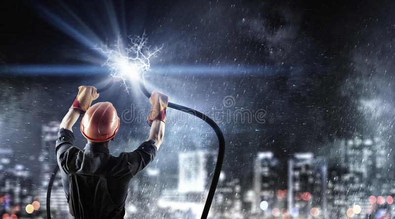 Fixing electricity cut stock image