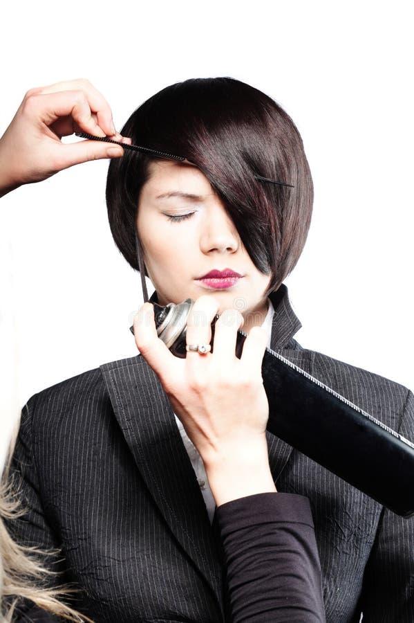 fixing hair model s στοκ φωτογραφίες με δικαίωμα ελεύθερης χρήσης