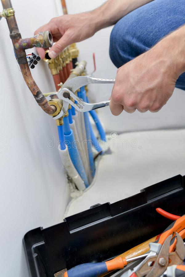 Fixing the water line. Alteration royalty free stock image