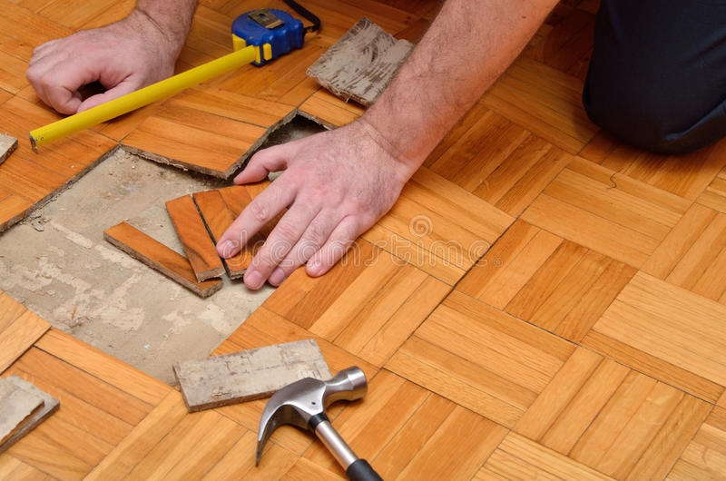 Fixing Wooden Floor in the Apartment royalty free stock photography