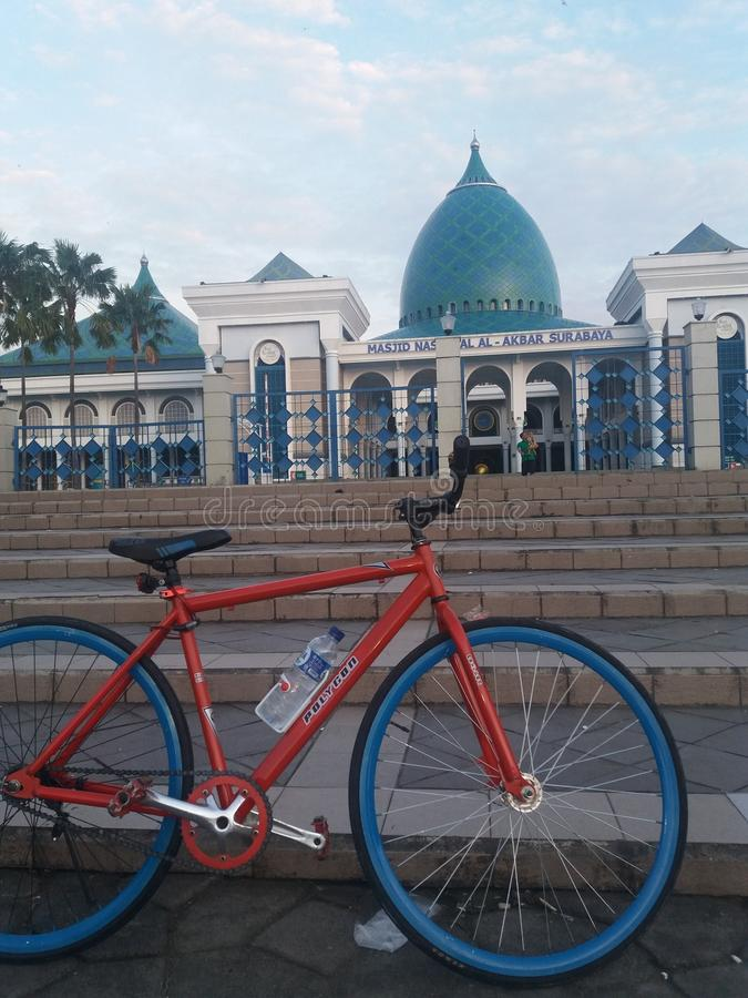 Fixy in front Masjid Al-Akbar Surabaya. The 2nd bigest Mosque in indonesia royalty free stock images