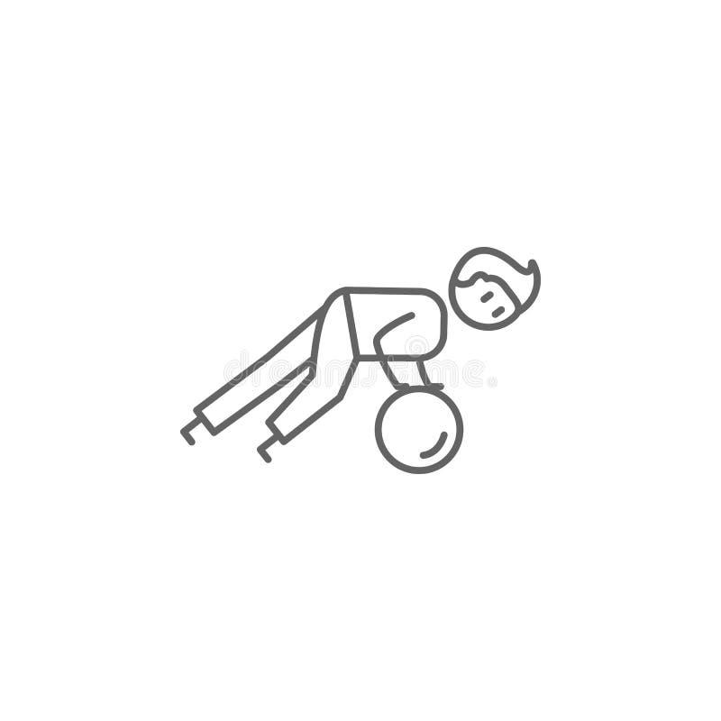 Fizjoterapia, mężczyzna, łgarska ikona Element fizjoterapii ikona Cienka kreskowa ikona dla strona internetowa projekta i rozwoju ilustracji