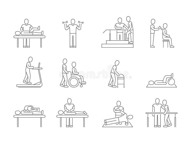Fizjoterapia, rehabilitacja, ćwiczenia i masaż terapii wektoru linii medyczne ikony, royalty ilustracja