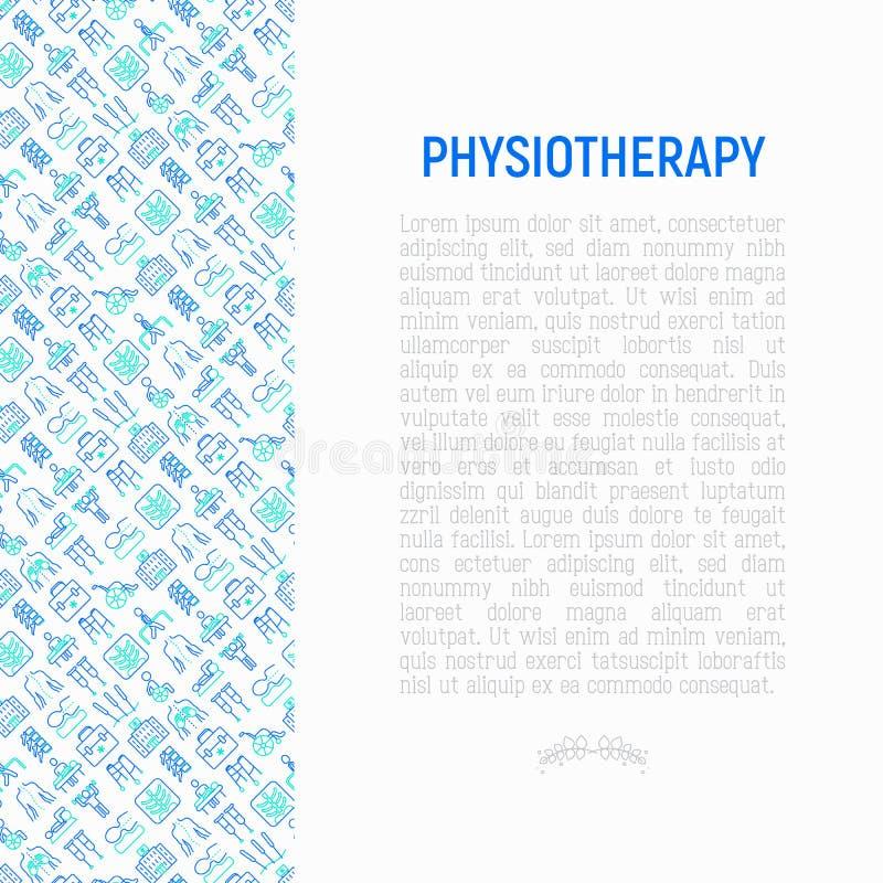 Fizjoterapii pojęcie z cienkimi kreskowymi ikonami: rehabilitacja, phys ilustracja wektor