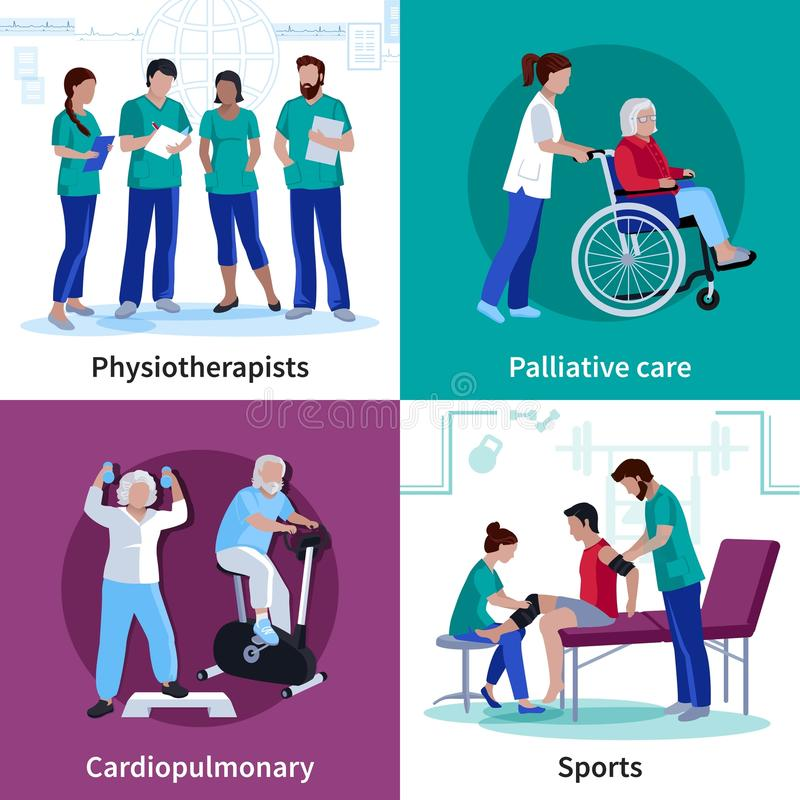 Fizjoterapii rehabilitaci 4 ikon Płaski kwadrat ilustracji