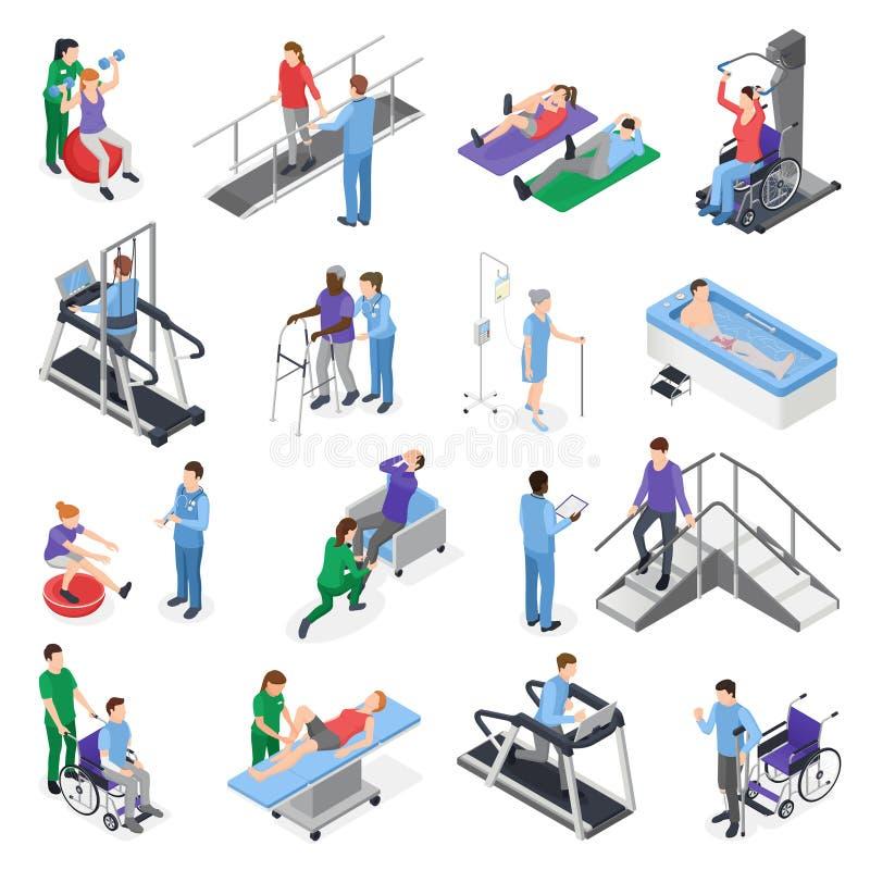 Fizjoterapii rehabilitaci Isometric set royalty ilustracja