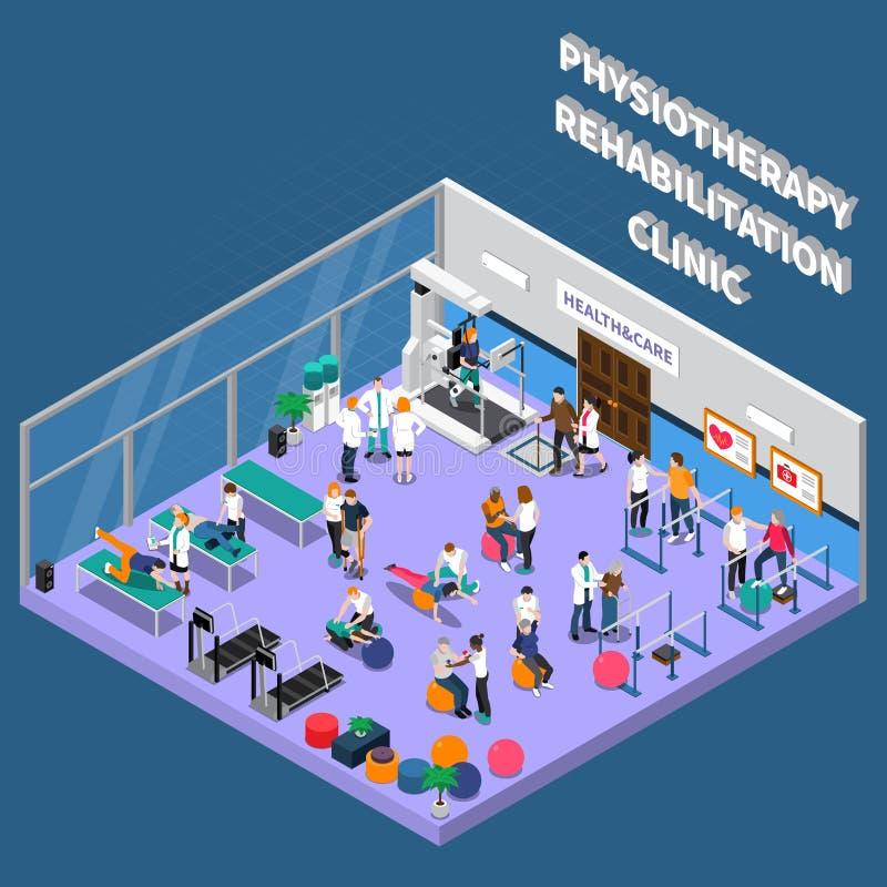 Fizjoterapii rehabilitaci kliniki wnętrza skład ilustracji