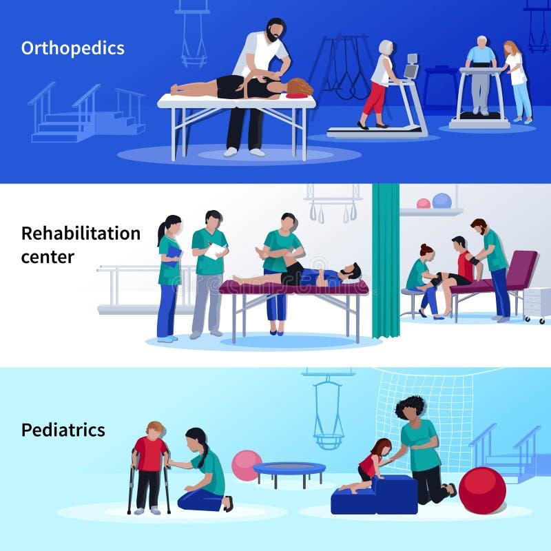 Fizjoterapii rehabilitaci 3 Płaski Horyzontalny centrum ilustracja wektor
