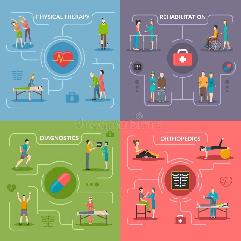Fizjoterapii rehabilitaci 2x2 projekta pojęcie ilustracji