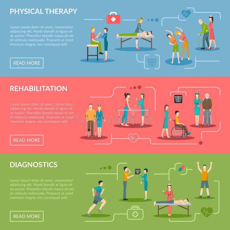 Fizjoterapii rehabilitaci sztandary ilustracja wektor