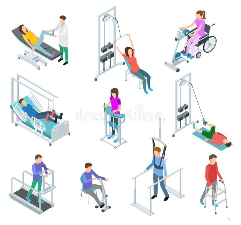 Fizjoterapii rehabilitacji wyposażenie Pacjenci i karmiący personel w rehabilitacji centre klinice Isometric wektoru set ilustracja wektor