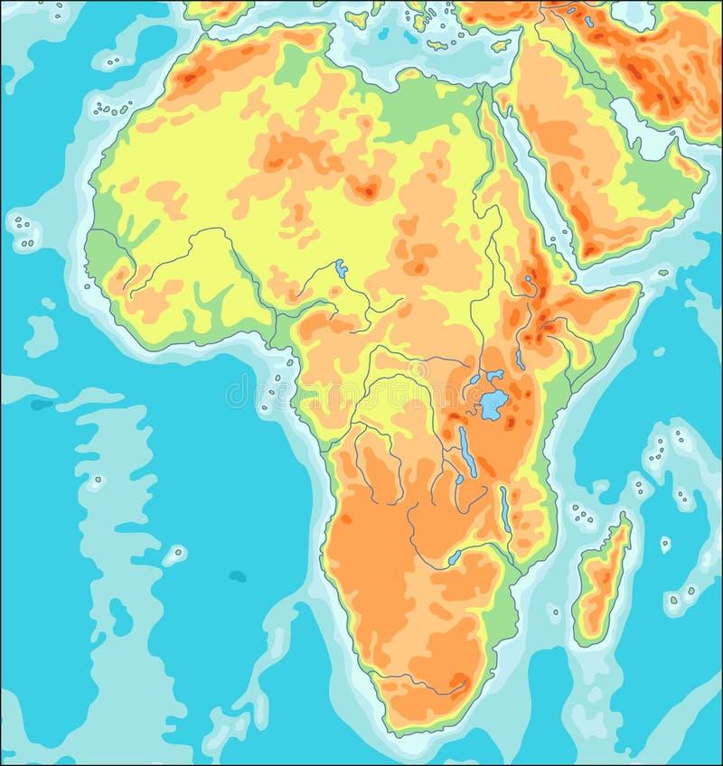 Fizyczna Afryka mapa royalty ilustracja