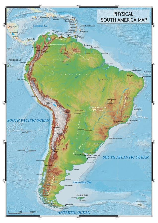 Fizyczna Ameryka Południowa mapa zdjęcie royalty free