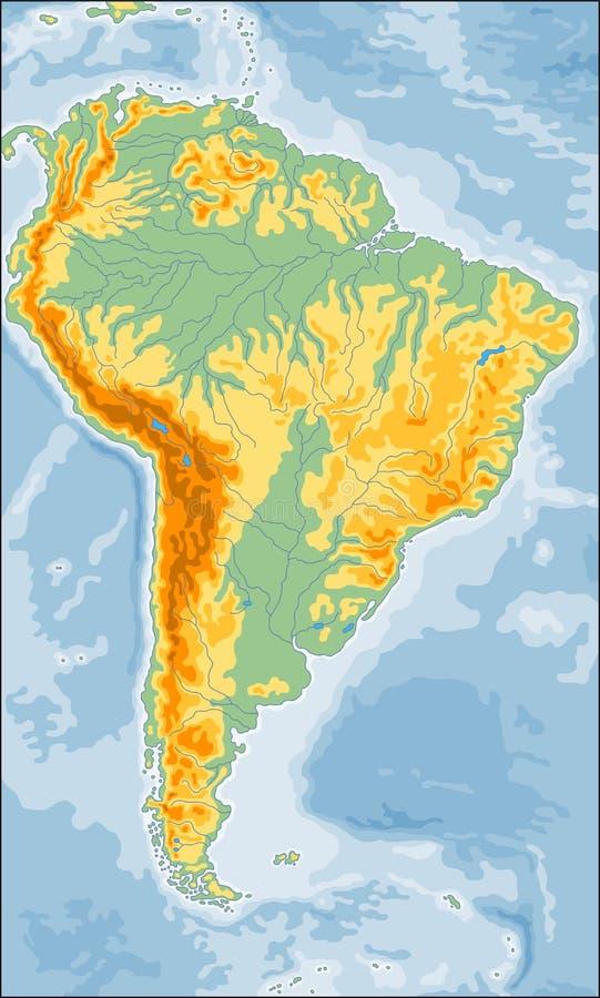 Fizyczna Ameryka Po?udniowa mapa royalty ilustracja