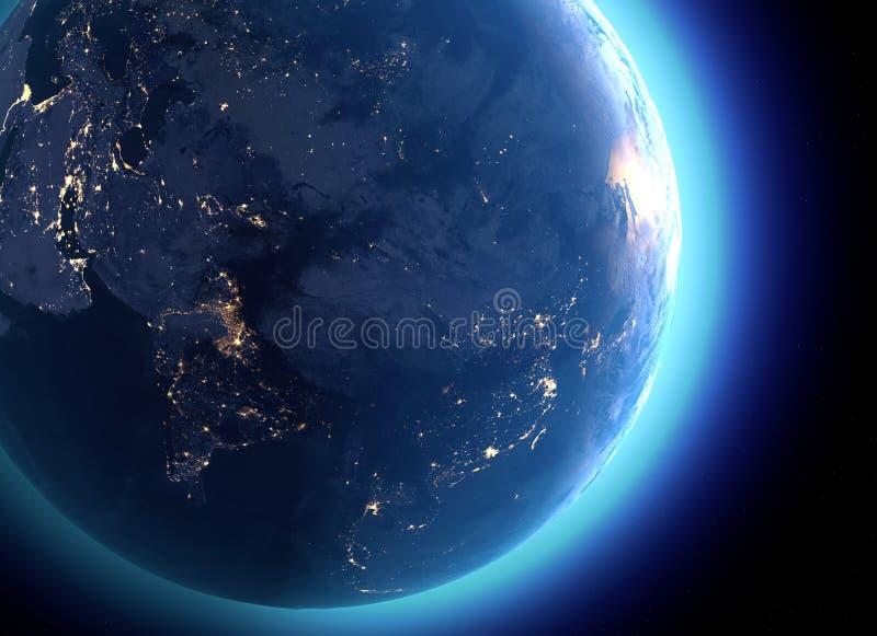 Fizyczna mapa świat, satelitarny widok India, Chiny, Rosja asia kulę hemisfera Noc widok, miast światła royalty ilustracja