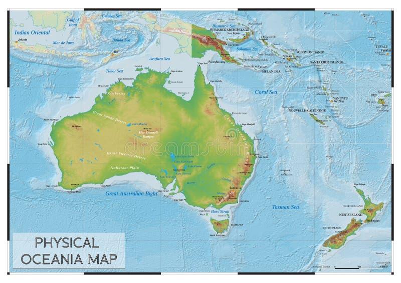 Fizyczna Oceania mapa zdjęcia stock