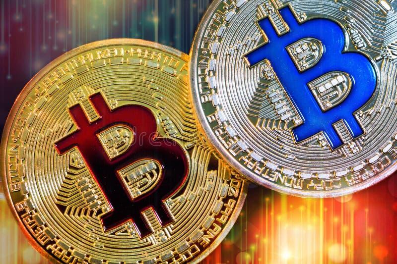 Fizyczna wersja Bitcoin nowy wirtualny pieniądze z kolorowym skutkiem obraz stock
