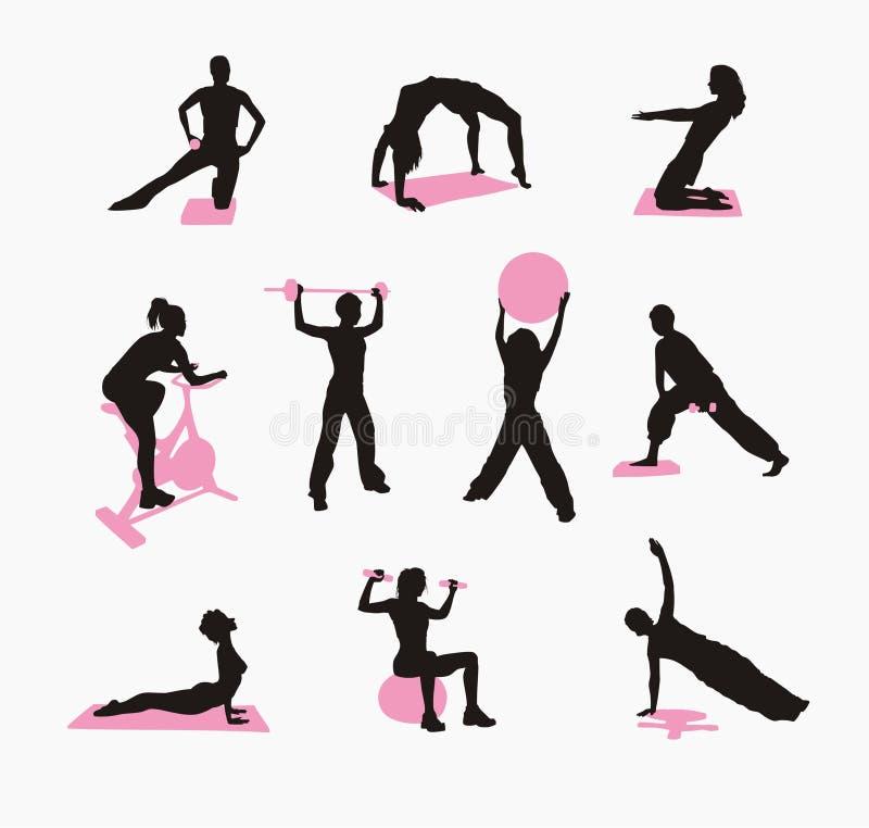 fizyczne fitness kobiety ilustracji