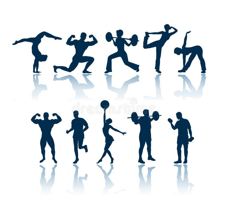 fizyczne sylwetki fitness ilustracja wektor