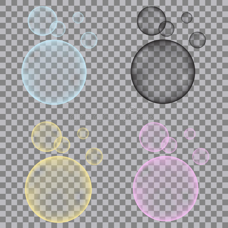 Fizzy blue, yellow, pink, black bubbles on transparent backgro vector illustration