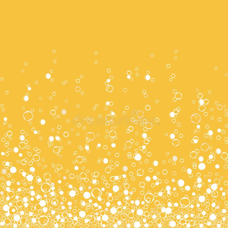 Fizzy champagne drink isolated on white background. Air bubbles. Vector royalty free illustration