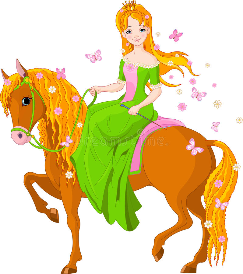 fjäder för hästprincessridning royaltyfri illustrationer