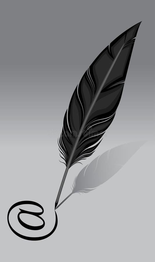 Fjäder för writing Penna emailinternetsymbol progress royaltyfri illustrationer