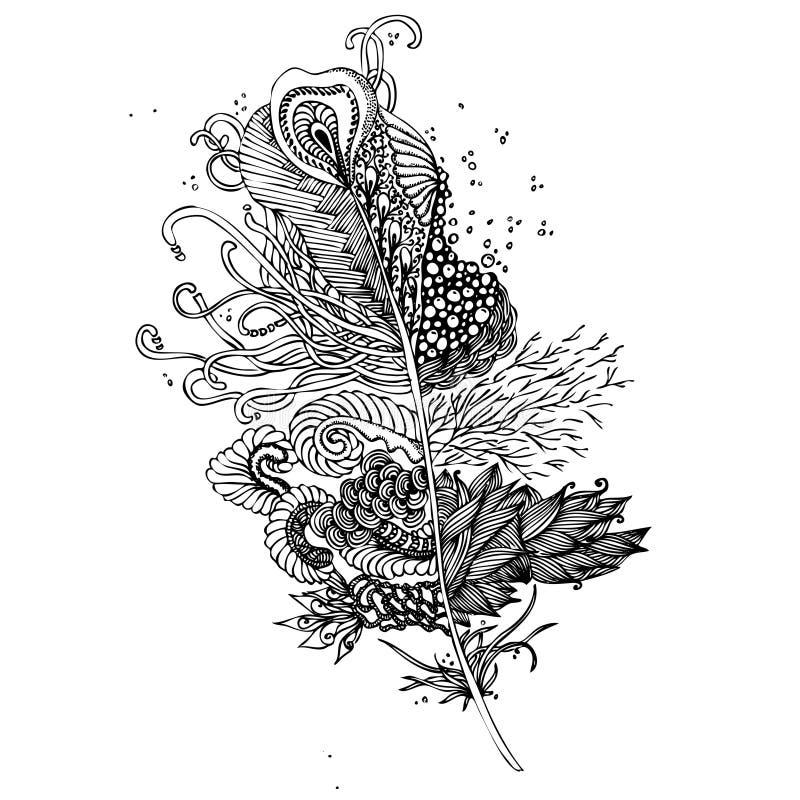 Fjäder på en vit bakgrund Tappning Artistically hand dragit s stock illustrationer
