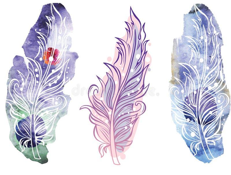 Fjäder på rastervattenfärgbakgrund royaltyfri illustrationer