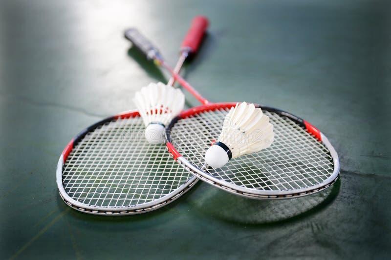 Fjäderbollar och badmintonracket royaltyfria bilder
