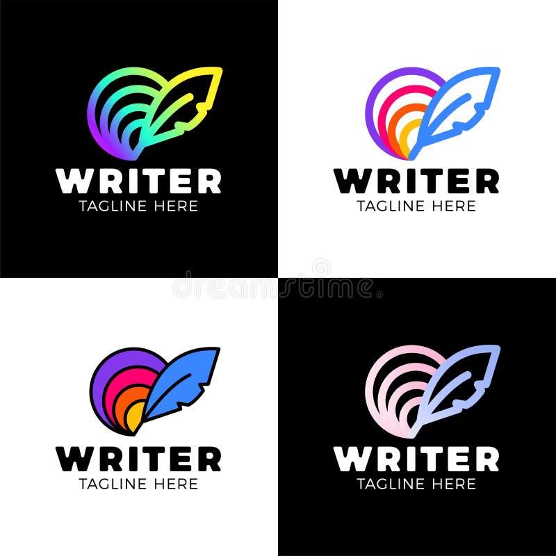 Fj?dercirkelregnb?ge Logo Template Design Id?rikt vektoremblem f?r symbols- eller designbegrepp stock illustrationer