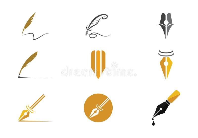 Fjäderpenna Logo Vector royaltyfri illustrationer